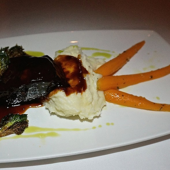 Three-hour shortrib, caramelized Brussels sprouts, hoisin barbecue sauce, garlic mashed potatoes - The Metropolitan, Chicago, IL