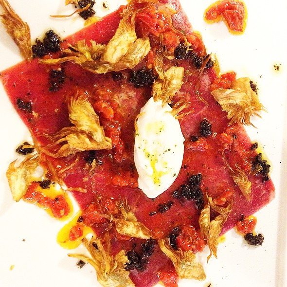 Lamb Carpaccio, yogurt, crispy artichokes, olive vinaigrette - The Market Place Restaurant, Asheville, NC