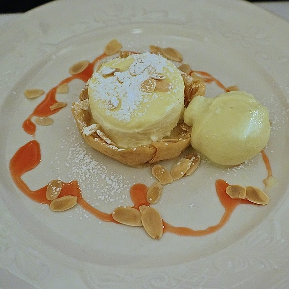 Mascarpone and goat cheese tart with lemon curd, toasted almonds, olive oil gelato - Scalini Fedeli, New York, NY