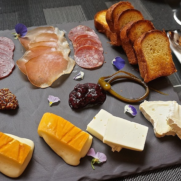 Charcuterie and cheese plate – pepperoni, lamb pepperoni, brioche, taleggio, tomme, brie - Cafe Des Architectes/CDA, Chicago, IL