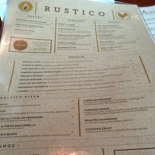 Brunch Menu - Rustico, Alexandria, VA