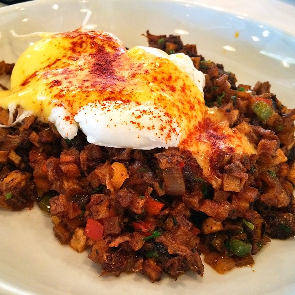 Beef Short Rib Hash With Poached Eggs - Echo & Rig Steakhouse & Butcher Shop, Las Vegas, NV