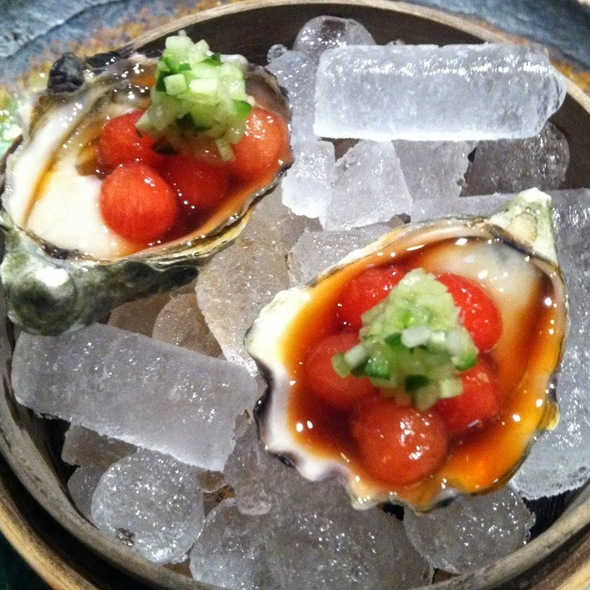 Kumamoto Oyster, Watermelon Pearls, Cucumber Mignonette - o ya, Boston, MA