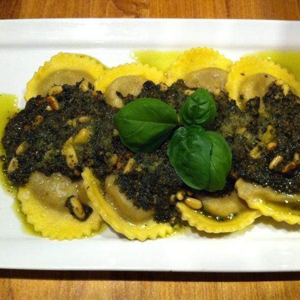 Wild Mushroom Ravioloni With Pesto Sauce - Pacifico Pizzeria Ristorante, Vancouver, BC
