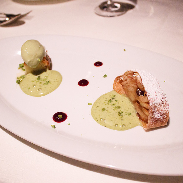 Golden delicious warm apple strudel & chilled apple tarte homemade pistachio ice cream - Five Sails Restaurant, Vancouver, BC