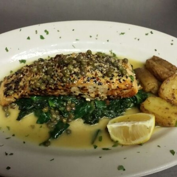 Everything Crusted Salmon In A Caper Sauce - Trattoria Lucia, Bellerose, NY