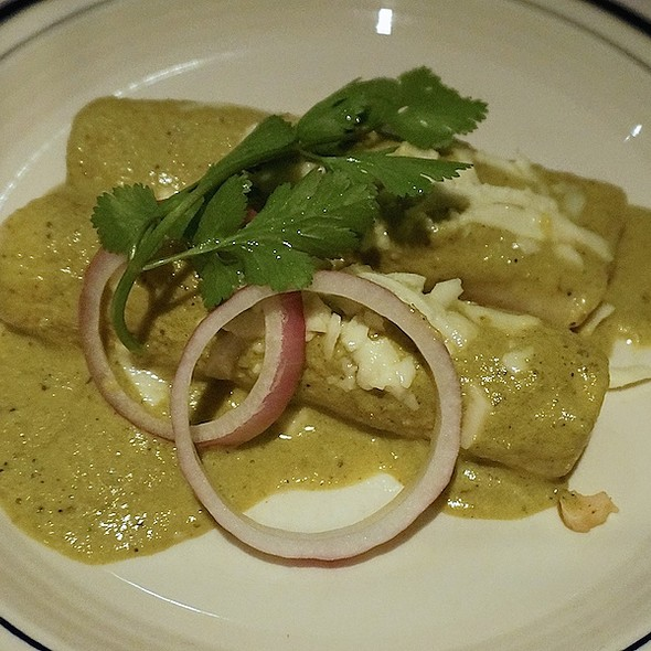 Enchaliditas de pescado – enchiladas with shredded achiote-marinated cod, creamy roasted tomatillo-serrano sauce, queso fresco, red onion, cilantro - Salpicón, Chicago, IL