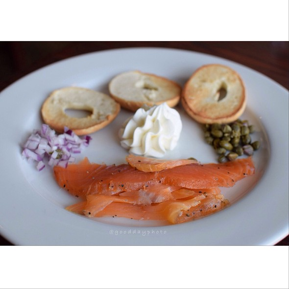 House Smoked Salmon Lox & Bagel - Black Bass Hotel, Lumberville, PA
