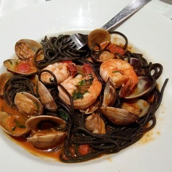 Squid Ink Pasta With Prawns And Clams - La Lanterna Ristorante, San Mateo, CA