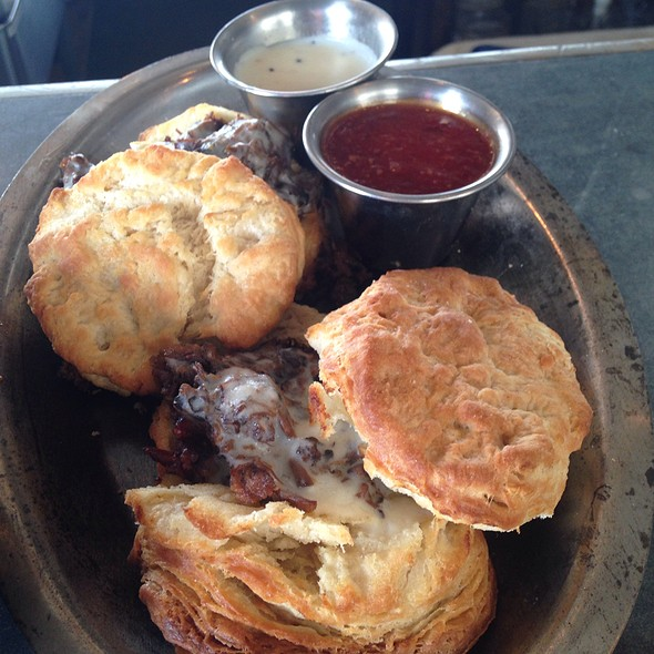 Biscuits Smothered In Brisket & Gravy - Woodshed Smokehouse, Fort Worth, TX
