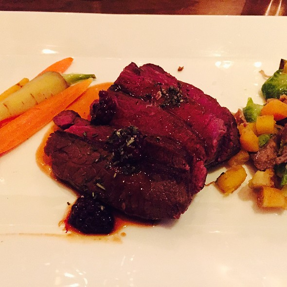 Elk Shortloin With Duck Confit Brussel Sprout Hash And Blackberry Butterscotch Sauce - New Sheridan Chop House, Telluride, CO