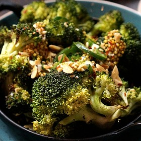Charred broccoli, fried almonds, chilies, mustard seed vinaigrette - State and Lake Chicago Tavern, Chicago, IL