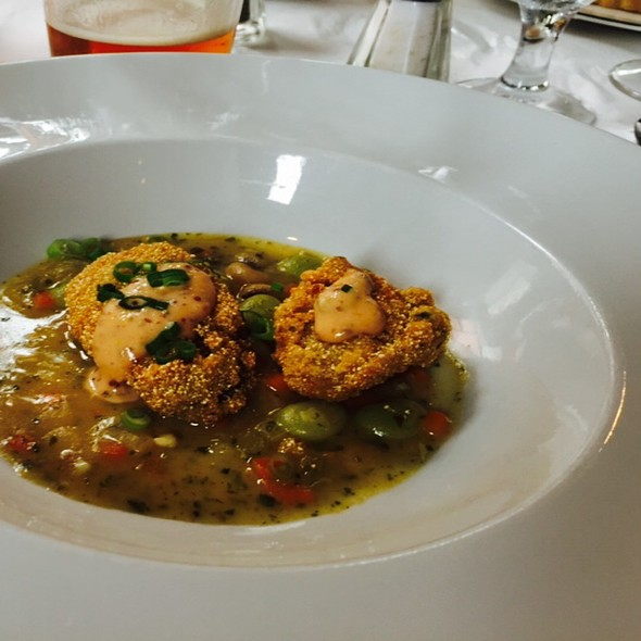 Flash Fried Oysters Butter Bean Cassoulet - Bayona, New Orleans, LA