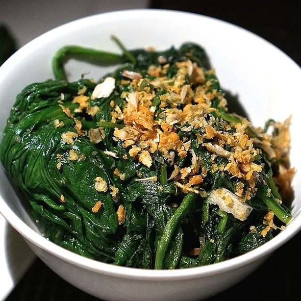 Sake braised Big Island spinach, garlic chips - Azure - The Royal Hawaiian, Honolulu, HI