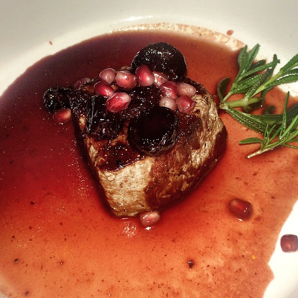 Filet Mignon, Pan Seared & Served With A Pomegranate~Dry Cherry & Port Wine Reduction - Onotria Wine Country Cuisine, Costa Mesa, CA