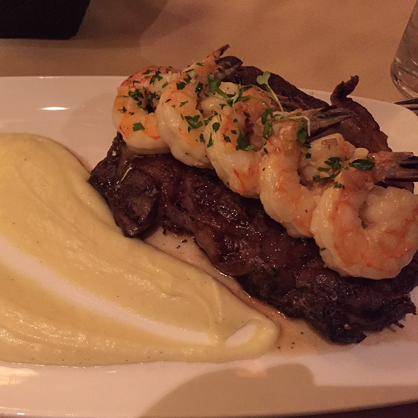 Grilled Ribeye Steak & Seared Tiger Prawns With Truffle Mashed Potatoes - Vista prime steaks & seafood, Snoqualmie, WA
