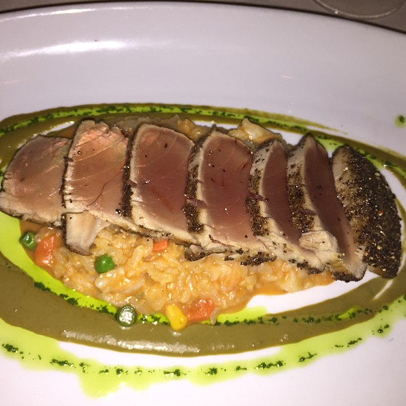 Black Peppered Seared Ahi Tuna Over Spicy Shrimp Risotto - Capannina, San Francisco, CA