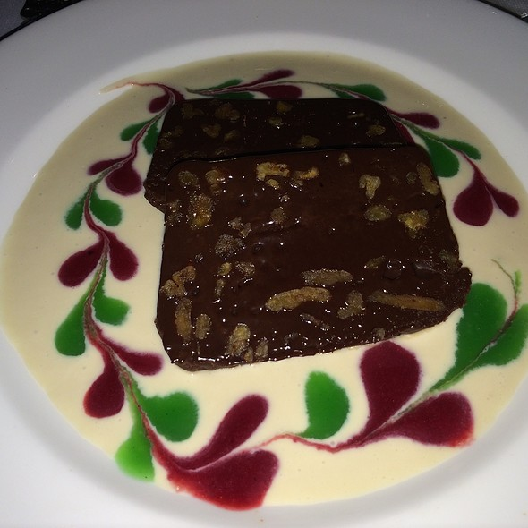 Dark Chocolate Pecan Terrine with Amaretto Anglaise - Black Forest Inn, Stanhope, NJ