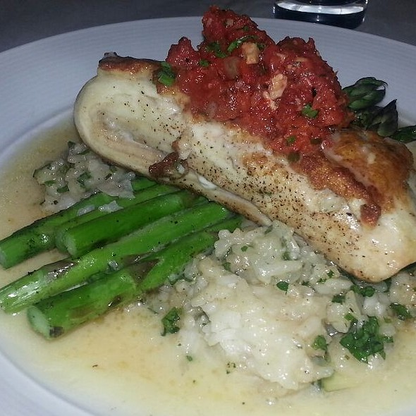 Shrimp Crusted Mahi Mahi With Herb Risotto, Grilled Asparagus and Romesco Salsa - Bacchus Wine Bar & Restaurant, Buffalo, NY