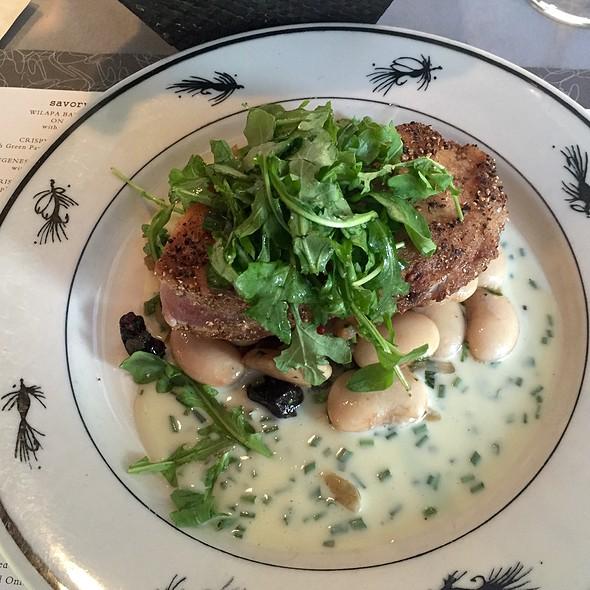 Fennel Spiced Mahi Mahi With Marinated Corona Bean Salad & Artichoke Purée - Steelhead Diner, Seattle, WA
