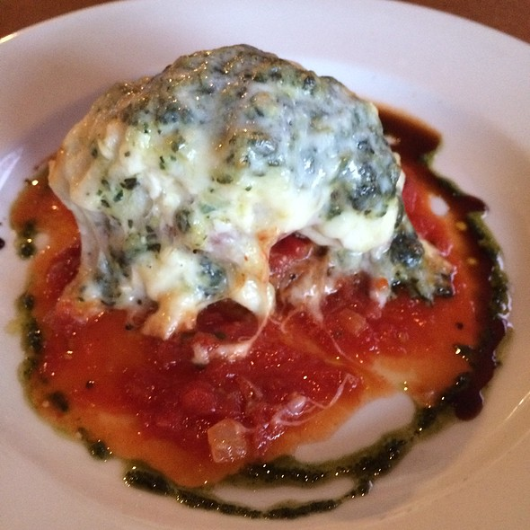 Jumbo Shrimp Parmensan Stuffed With Crab Meat Over Cheese Ravioli - Harbor Mist Restaurant, Cold Spring Harbor, NY