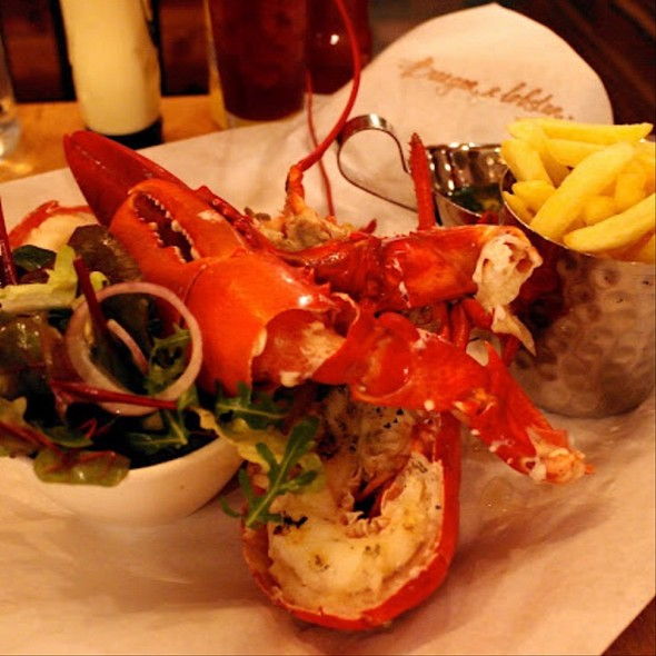 Grilled Lobster With Fries And Side Salad - Cafe Del Rey, Marina Del Rey, CA