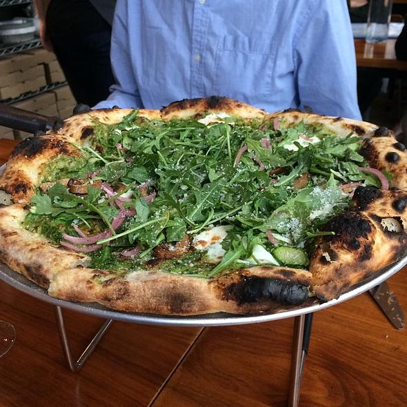 Arugula, Sweet Onion, & Mushroom Pizza - Area Four Cambridge, Cambridge, MA