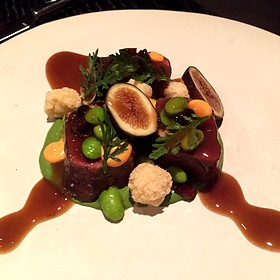 Beef Ribeye with Fermented Black Bean, Chile, Tamarind, Crispy Rice Pearl, and Fig - One Restaurant - Chapel Hill, Chapel Hill, NC