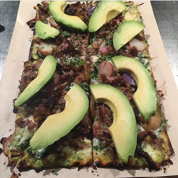Lamb Shawarma, Heirloom Potato, Avocado Flatbread - Cleo - Hollywood, Los Angeles, CA