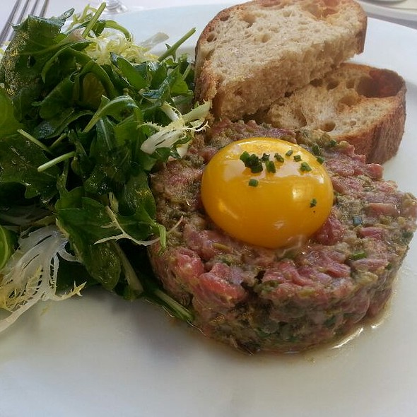 Steak Tartare, Dijon Mustard, Farm Egg Yolk, Frisée and Arugula Salad - Angèle Restaurant & Bar, Napa, CA