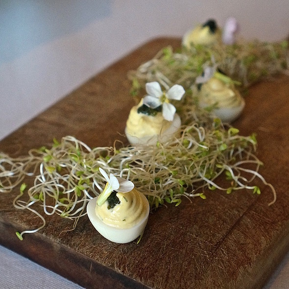 Truffled deviled quail eggs, arugula blossom, Japanese seaweed, alfalfa - Bourbon Steak Monarch Beach, Dana Point, CA