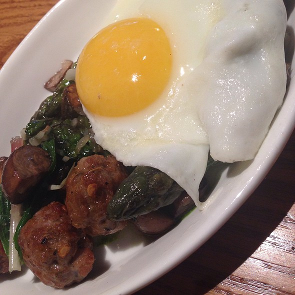 Sunny Side Up Egg With Asparagus, Duck Sausage And Mushrooms - Pizzeria Orso, Falls Church, VA