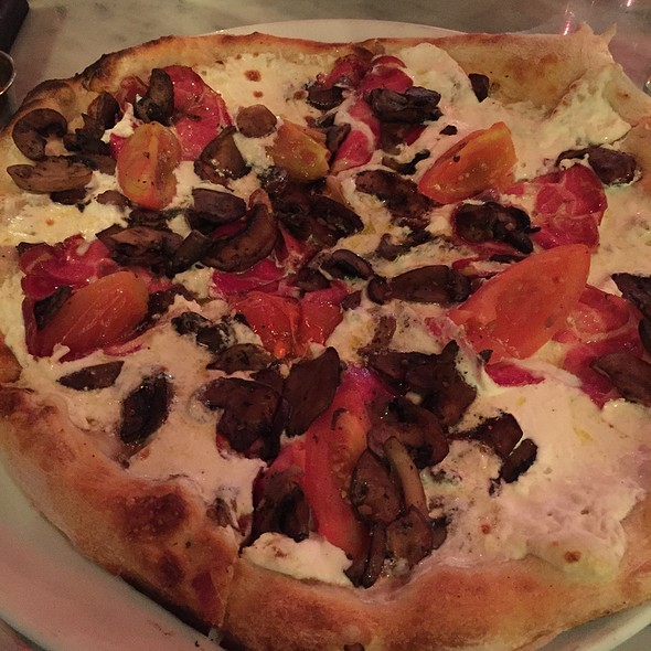 White Pizza With Hot Capacola, Fresh Ricotta, Wild Mushrooms, And Marinated Tomatoes - Pizza Republica - Greenwood Village, Greenwood Village, CO