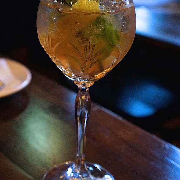 Rhubarb Gin & Tonic – Death's Door gin, rhubarb tonic, Spanish vermouth mint, lemon.jpg - Southport and Irving, Chicago, IL