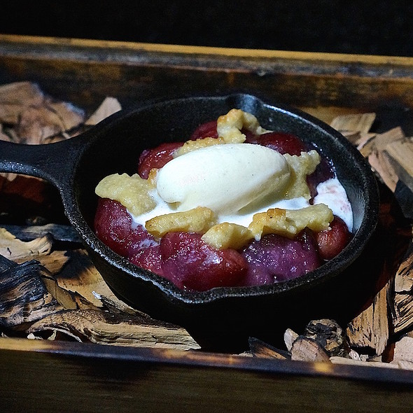 Cobbler – Southern cherry cobbler, smoked apple chips, pistachio crumble, vanilla ice cream - Moto Restaurant, Chicago, IL