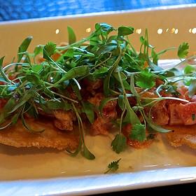 Spicy tuna huarache –ahi tuna, sriracha aioli, pickled jalapeño, corn masa crisp - Flame Restaurant, Vail, CO
