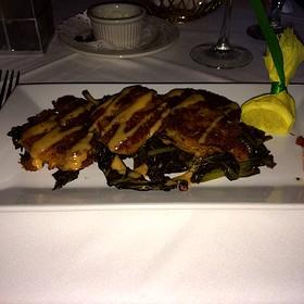 Crawfish Fritters On Bed Of Collards - The Elkridge Furnace Inn, Elkridge, MD
