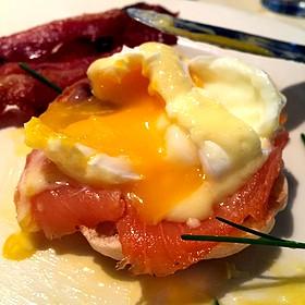Smoked Salmon Eggs Benedict - Lucky 32 Southern Kitchen - Greensboro, Greensboro, NC