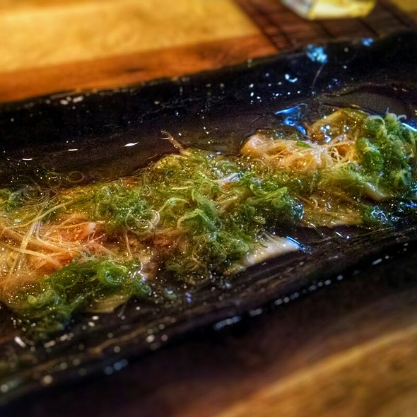 Fluke Ponzu (Thinly sliced fluke with chive, ginger shoots, shiso leaf, under mizore ponzu sauce) - ShinBay, Scottsdale, AZ