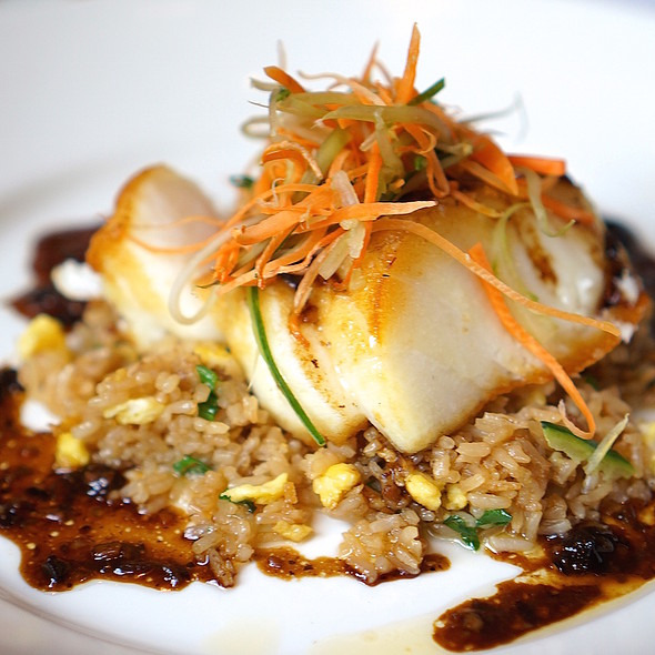 Seared Chilean sea bass, crab fried rice, black bean garlic sauce - Del Frisco's Double Eagle Steak House - Chicago, Chicago, IL