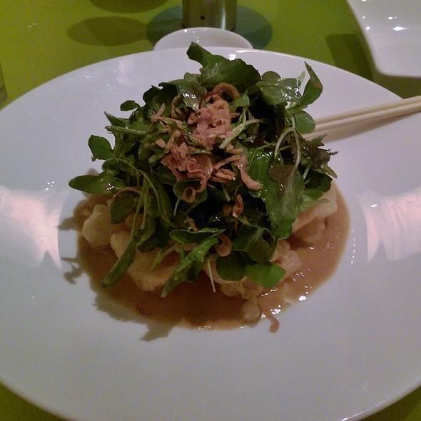 Calamari tempura salad mixed greens, white miso vinaigrette - Morimoto, Philadelphia, PA