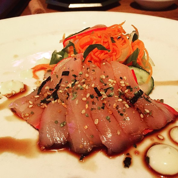 Yellowtail Sashimi With Barrel Aged Soy Sauce, Furikake, Kyuri, Carrot, And Sesame - ELEVEN, Pittsburgh, PA