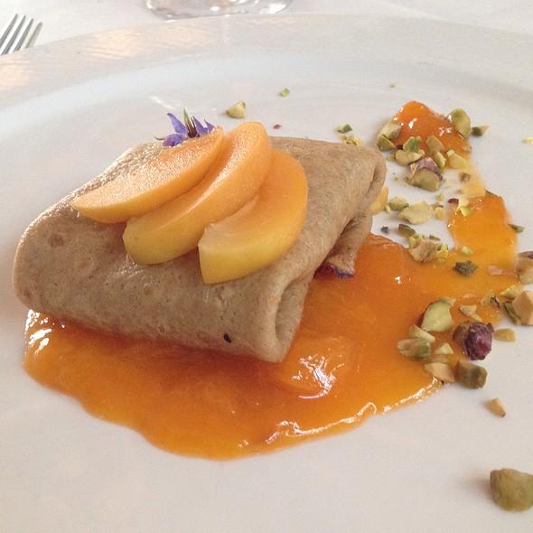 Eikorn Flour Crepe, Apricot Compote, Goat Cheese, Pistachios - Whitehouse-Crawford, Walla Walla, WA