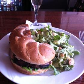 Lamb Burger With Cesar Salad And A White Grape Mimosa - The Pot Au Feu, El Paso, TX