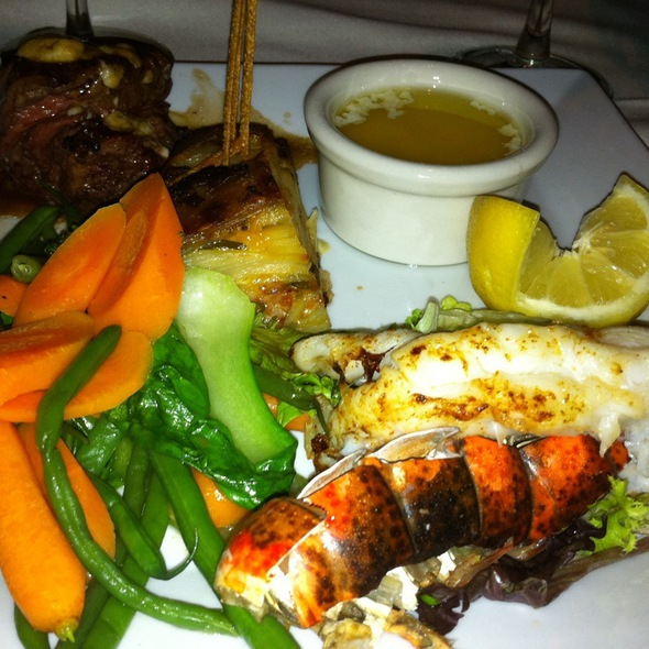 Bruleed Gorgonzola Steak And Lobster Tail - Thistle Lodge Restaurant, Sanibel, FL