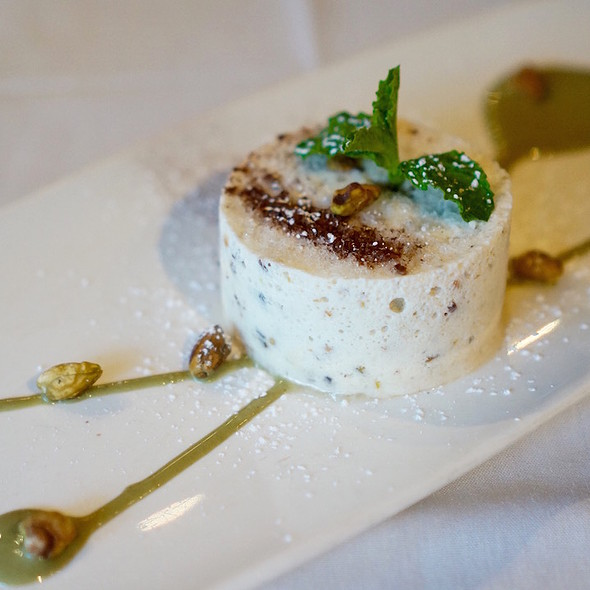 Cassata all'Italiana – half-frozen honey, nut and fruit semifreddo, pistachio sauce - Coco Pazzo, Chicago, IL