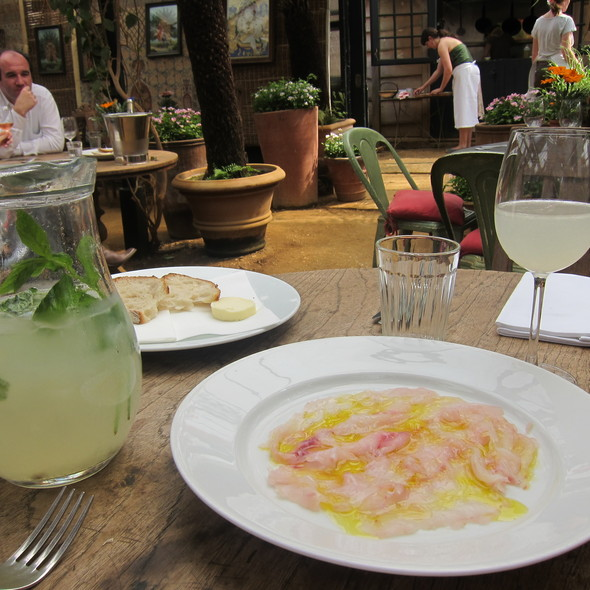 White bass carpaccio - Petersham Nurseries Cafe, Richmond, Greater London