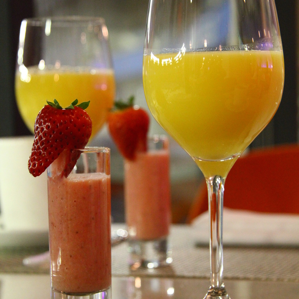 Orange Juice & Strawberry Smoothie - Arriba Restaurant, Toronto, ON