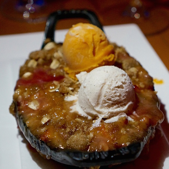 Palisade peach crisp, blueberries, apricot gelato, vanilla bean ice cream - Allred's Restaurant, Telluride, CO