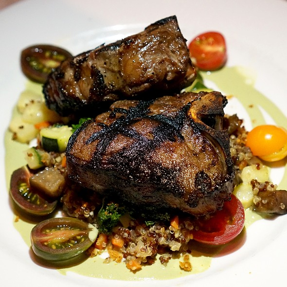 Colorado lamb T-bones, quinoa, falafel dusted kale, cherry tomato, mint yogurt salad - 221 South Oak, Telluride, CO